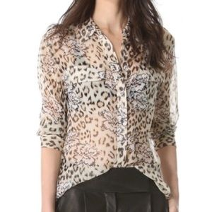 Equipment silk cheetah leopard floral button up